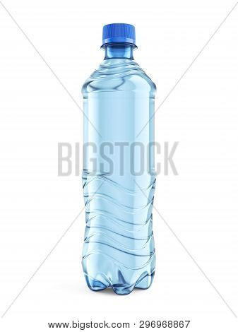 Small Plastic Bottle Of Still Water With Blue Cap Isolated On White Background. Front View Close-up.