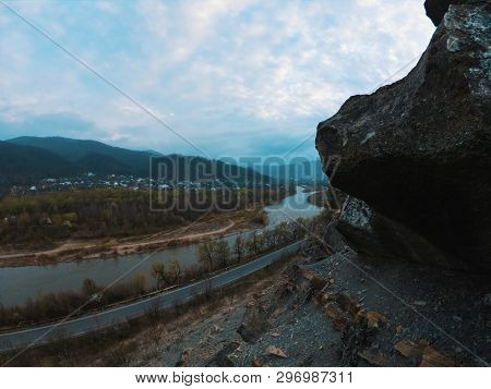 Mountain Rift Sky Clouds Landscape. Mountain Cloudy Sky Over Mountain Rift Panorama