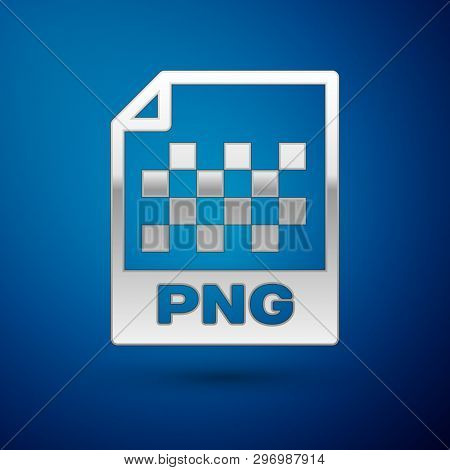 Silver PNG file document icon. Download png button icon isolated on blue background. PNG file symbol. Vector Illustration poster