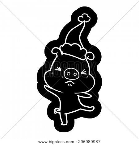 quirky cartoon icon of a furious pig wearing santa hat poster
