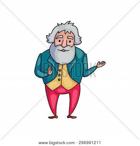 Elegant Senior Old Man In Fashion Style Clothes