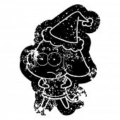 quirky cartoon distressed icon of a unsure elephant wearing santa hat poster