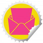 circular peeling sticker quirky cartoon letter and envelope poster