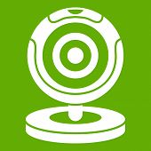 Webcam icon white isolated on green background. illustration poster