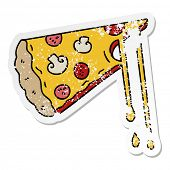 distressed sticker of a quirky hand drawn cartoon cheesy pizza poster