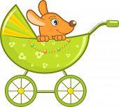 Baby animal in the green stroller. Vector Illustration. poster