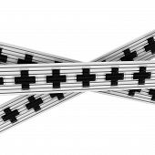 Intersecting black cross ribbons over white isolated poster