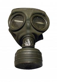 Gas Mask Isolated On White Background. Gas Mask Of The Second World War .
