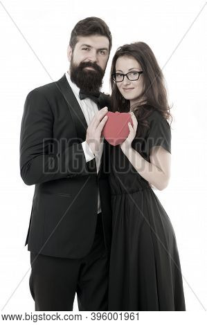Couple In Love. Family Couple. Formal Couple With Red Heart. Love Romance. Couple On Love Date. Bear