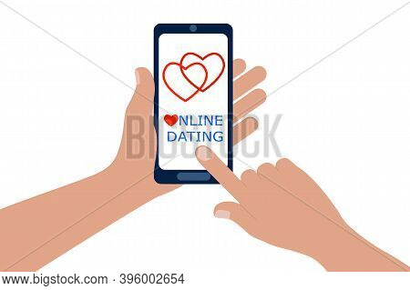Online Dating App For Mobile Phones. Hands Holding Smartphone And Forefinger Touching Screen To Ente