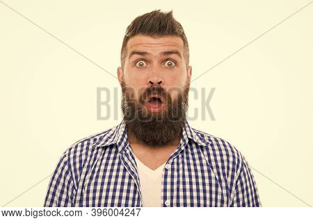 Big Sales. Mustachioed And Bearded. Surprised After Hairdresser Salon. Barbershop Master. Mustache F