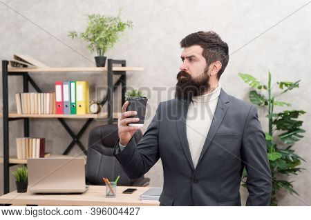 Business Lunch. Businessman In Formal Outfit At Lunch. Confident Man Use Laptop. Boss Workplace. Cof