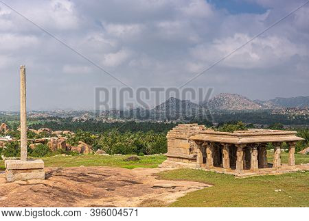 Hampi, Karnataka, India - November 4, 2013: Sunset Hill Aka Hemakatu. Down Hill  Temple Ruin And Pil