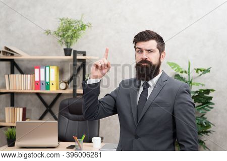 Run A Company. Human Resources. Job Interview. Man Bearded Top Manager Boss In Office. Business Care