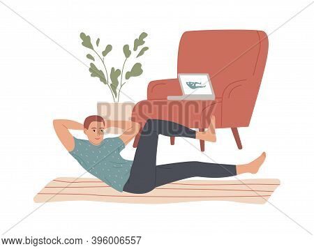 Man Doing Situps Abs Crunches At Home