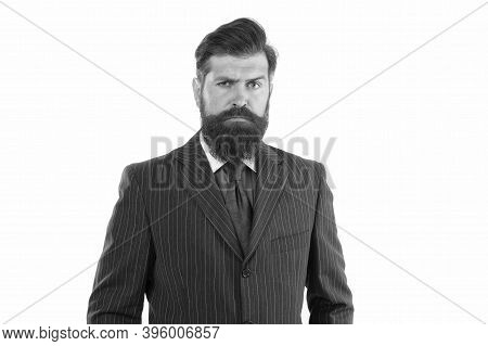 Man Of Law. Company Lawyer Isolated On White. Consult Lawyer Wear Formal Suit. Career As Lawyer. Leg