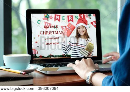 Christmas Online Sale, Woman Using Laptop Computer For Shopping Online Discount Store In Christmas S