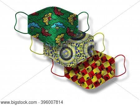African Wax Fabric Pattern Of Surgical Masks. Industrial Safety Mask, Dust Protection Respirator And