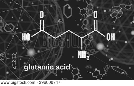 Amino Acid. Glutamic Acid Structural Formula. Lines And Dots Connected Background. 3d Rendering