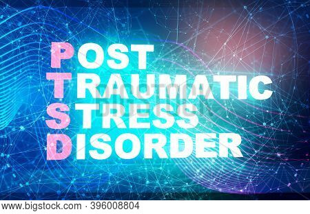 Acronym Ptsd - Post Traumatic Stress Disorder. Helthcare Conceptual Image. 3d Rendering. Neon Bulb I