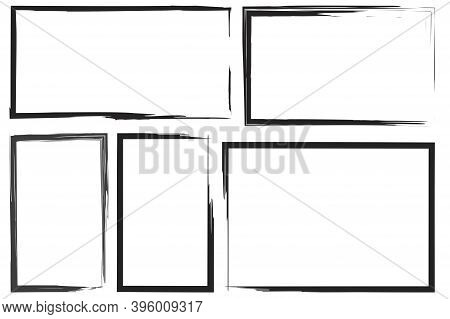 Doodle Freehand Rectangles For Paper Design. Freehand Rectangles, Great Design For Any Purposes. Vec