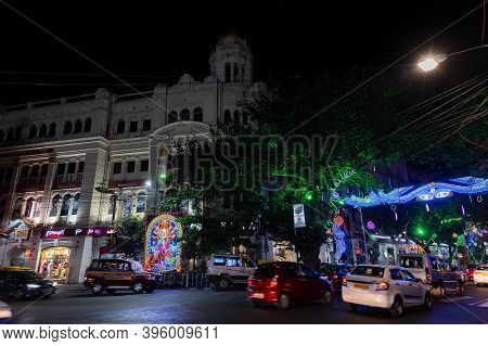 Park Street,kolkata, India - 12th November 2020 : Park Street Is Decorated With Diwali Lights For Th