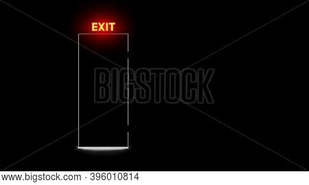 Black Closed Door And Neon Exit Lamp, Dark Background. Realistic Light Silhouette Slit Doorway. Abst