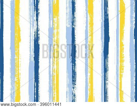 Watercolor Handdrawn Parallel Lines Vector Seamless Pattern. Modern Kids Clothes Fabric Design. Old