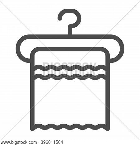 Towel On A Hanger Line Icon, Hygiene Routine Concept, Clean Hygiene Cotton Textile Sign On White Bac