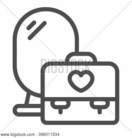Mirror And Bag With Heart Line Icon, Makeup Routine Concept, Cosmetic And Makeup Place Sign On White