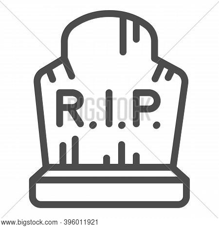 Grave With Inscription Rip Line Icon, Halloween Concept, Grave With Scratches Sign On White Backgrou