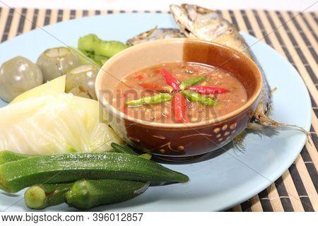 Stir Fried Mackerel With Shrimp Paste Sauce, Thai Shrimp Paste (shrimp Paste Chili Paste) Thai Food