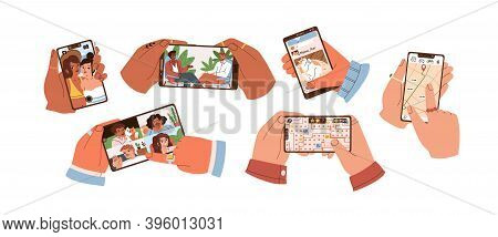 Set Of Hands Touch Smartphone Screen And Hold Mobile Phones With Apps For Taking Selfie, Watching Vi