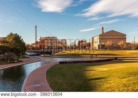 Scenic View Of Historic Arkansas Riverwalk In Pueblo, Colorado