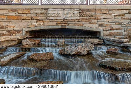Kelly Falls In Historic Arkansas Riverwalk In Pueblo, Colorado