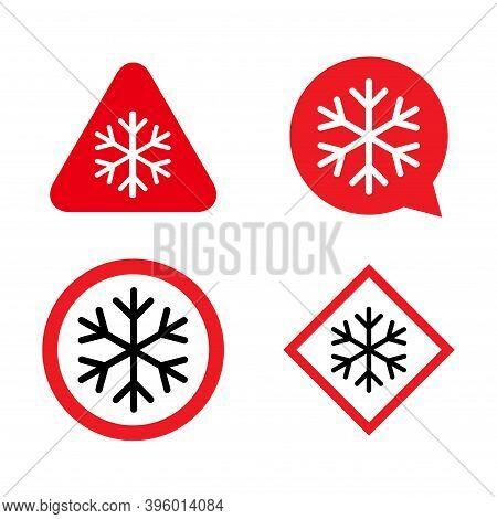Set Of Snow Winter Icon, Danger Ice Flake Sign, Risk Alert Vector Illustration, Careful Caution Symb