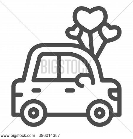 Car With Heart Shaped Balloons Line Icon, Valentine Day Concept, Auto With Love Sign On White Backgr