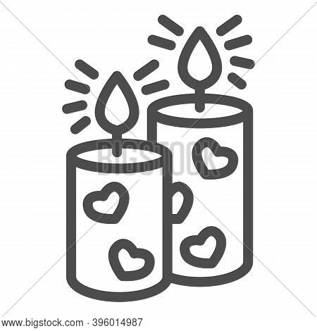 Romantic Aroma Candle Line Icon, Valentine Day Concept, Candles With Heart Sign On White Background,
