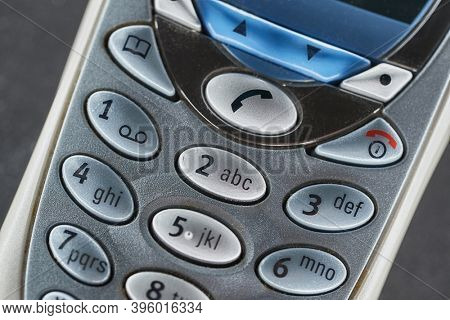 Buttons closeup cell phone classic keypad detail
