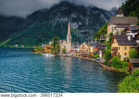 Beautiful Fabulous Village With Spectacular Houses And Buildings On The Shore Of The Lake Hallstatt.
