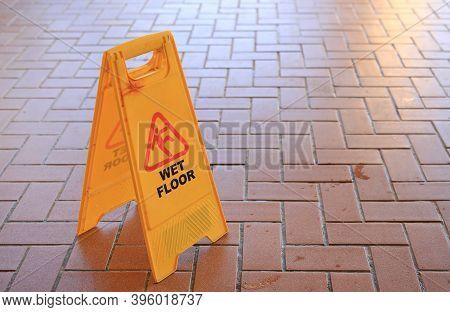 Beware Of Slippery Floors. Caution Wet Floor Warning