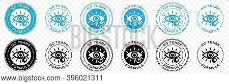 No Tears Formula Vector Icon. Kids Soap Free Shampoo And Baby Skincare No Tears Stamp Logo, Eye And