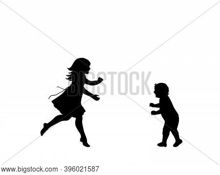 Silhouette Of Happy Girl Running Meet Little Brother . Illustration Symbol Icon