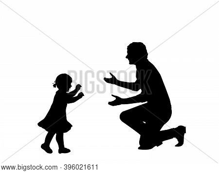 Silhouette Of Little Daughte Taking The First Steps Towards His Father. Illustration Symbol Icon