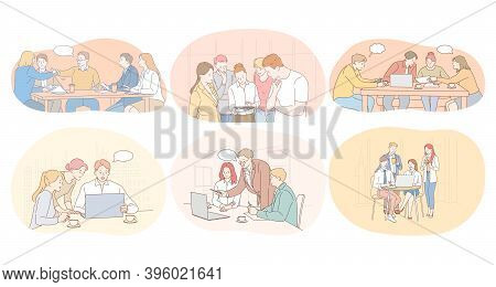 Teamwork, Brainstorming, Office, Negotiations, Working, Cooperation, Collaboration Concept. Business