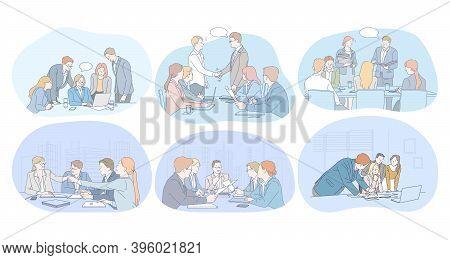 Teamwork, Brainstorming, Negotiations, Agreement, Deal, Presentation Concept. Business People Office