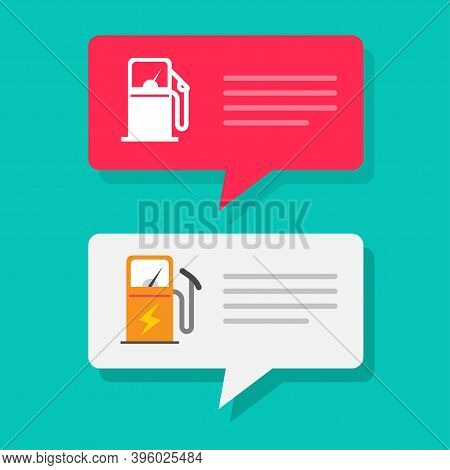 Gas Petrol Or Fuel Station Charging Info Message Notice Vector, Refilling Information Push Notificat