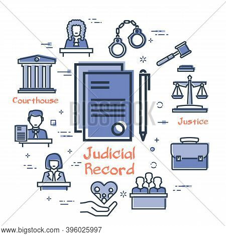 Vector Line Banner Of Legal Proceedings - Judicial Record Icon