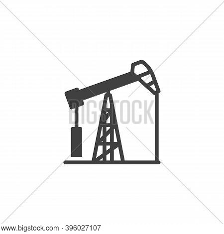 Oil Pump Vector Icon. Filled Flat Sign For Mobile Concept And Web Design. Pumpjack, Oil Derrick Glyp