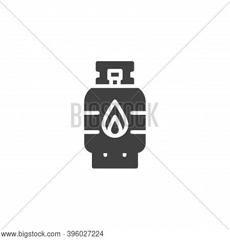 Propane Gas Cylinder Vector Icon. Filled Flat Sign For Mobile Concept And Web Design. Flammable Gas